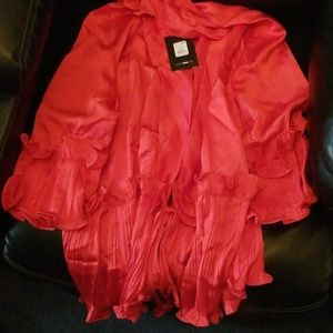 Plus sizes Women Silk red blouse